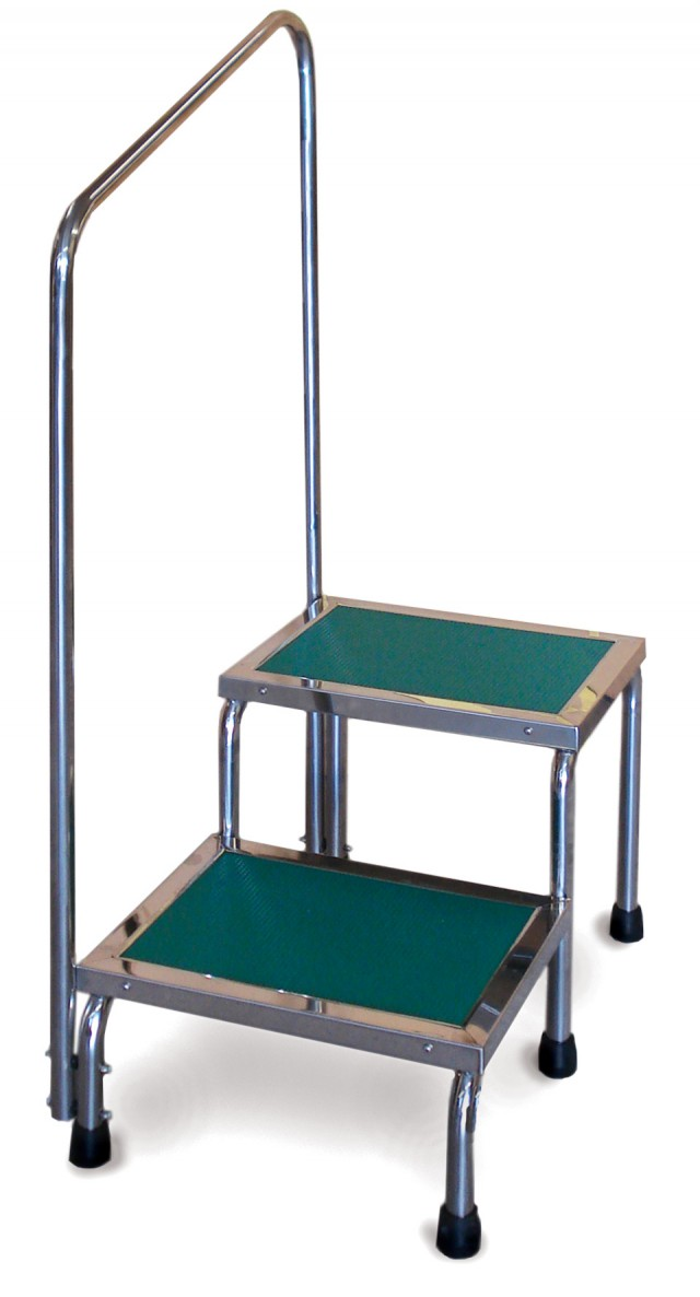 Narrow Double Step Stool With Handrail Techno Aide