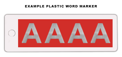 Plastic Word Marker (4 Character Max)