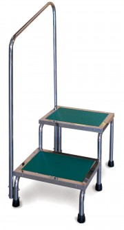 Narrow Double Step Stool With Handrail