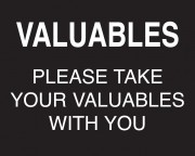 Valuables Sign